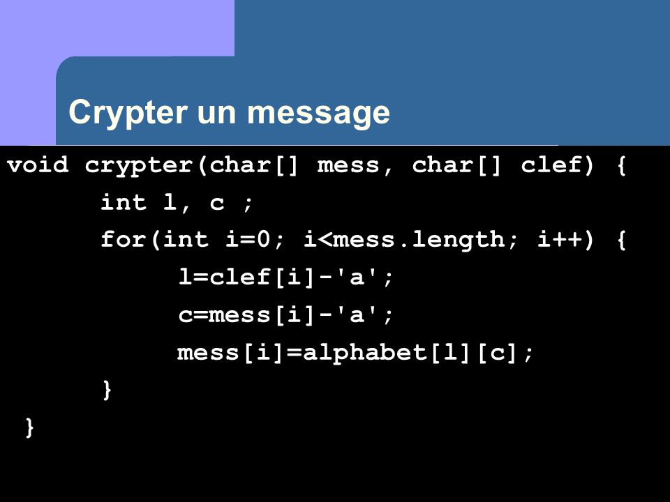 Crypter un message void crypter(char[] mess, char[] clef) { int l, c ;